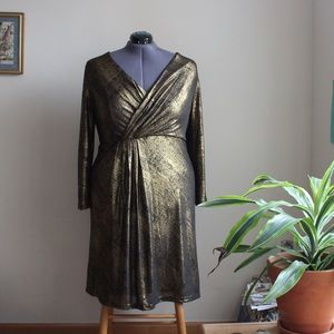 Roaman's Dresses - Roaman's Bronze Gold Faux Wrap Party Dress - Sz 18